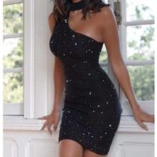 40# bodycon dresses 2020 Women Sexy Hot Drilling Sleeveless Shoulder Neck Hip Dress Sexy Bodycon min