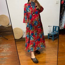 Cor das mulheres étnicas longo algodão e linho grande tamanho solto vestido Chinês retro diagonal fivela roupas chá outono