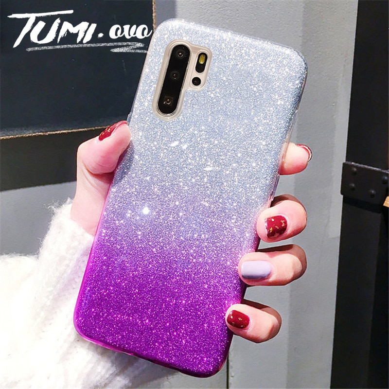 Glitter Caso Gradiente para Samsung Galaxy S8 S9 Plus S10 Lite A10 A20 A30 A10s A20s A40 A50 A70 A80 M10 M20 J4 J6 Mais Cobertura