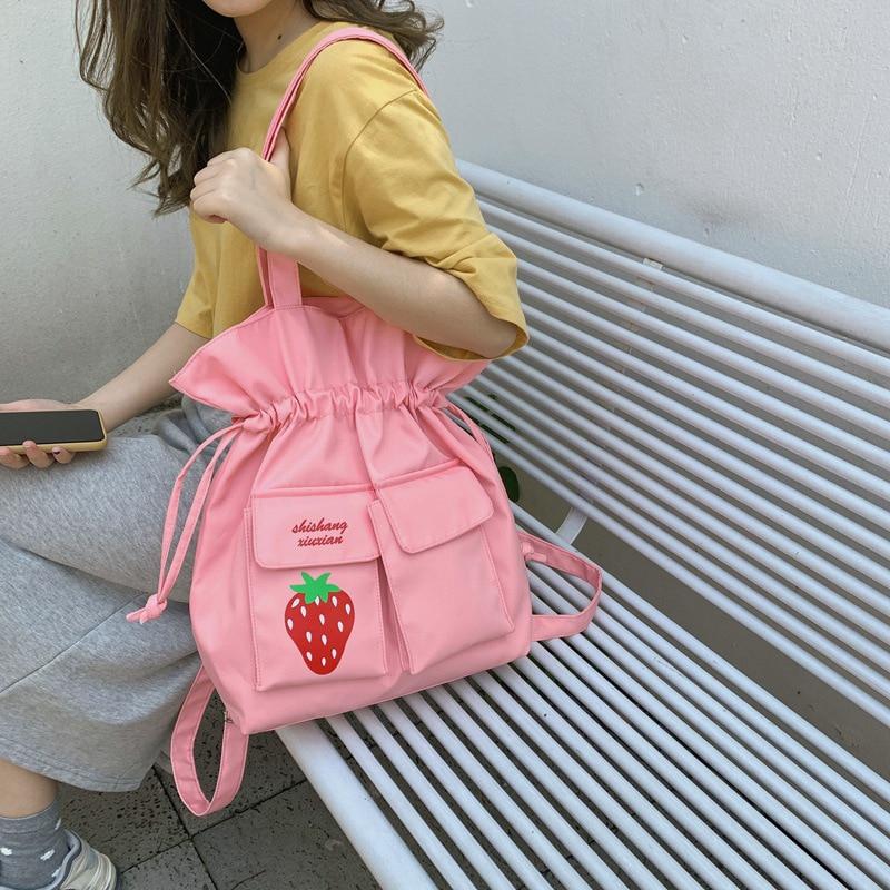 Mochila escolar para mujer 2020 marca femenina bonita fresa fruta bolsos de hombro impresos moda Oxford mochila bolsa mochila