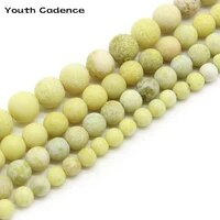 matte yellow mustard stone natural stone beads for jewelry making devil stone diy bracelet necklace 4mm 6mm 8mm 10mm 12mm strand