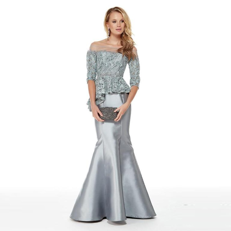 Elegant Mermaid Silver Lace Top Bateau Neck Mother Dresses With Off Shoulder Three Quarter Sleeve of the Groom Gowns 2020