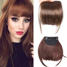 AliLeader Neat Front Fringe Clip On Bangs Hairpiece Black Brown Blonde Natural Soft Synthetic Bang Hair Extensions for Women