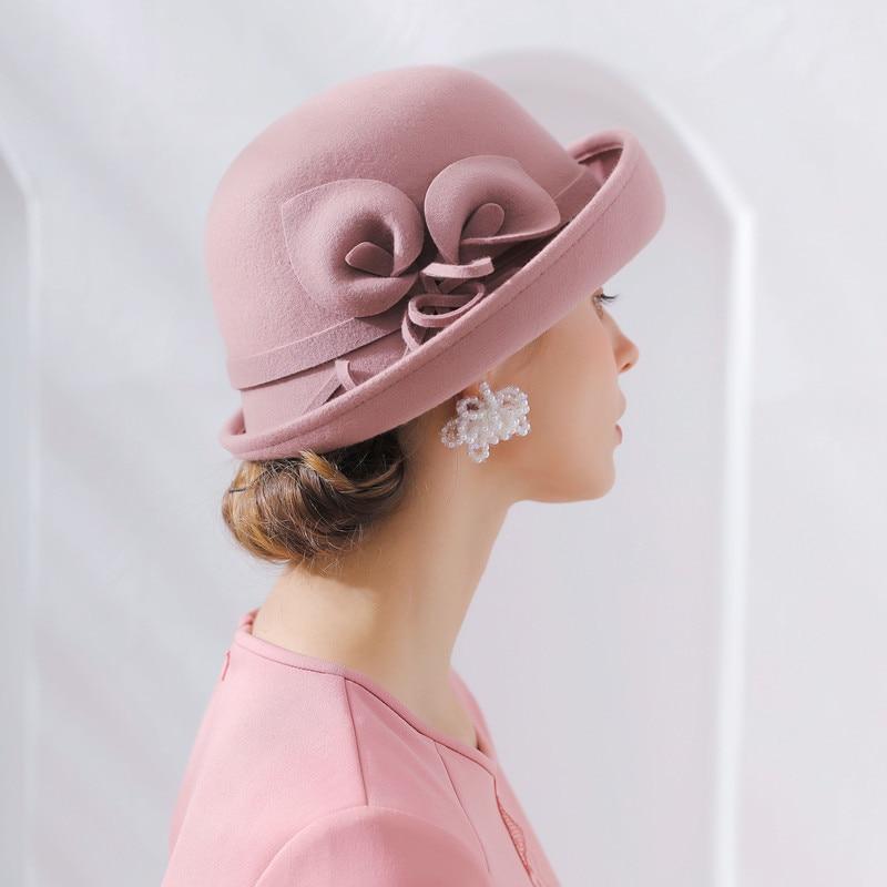 Chapéu feminino nova ferradura lótus 100% lã feltro fedoras flor cupola frisado chapéus feminino moda bonés