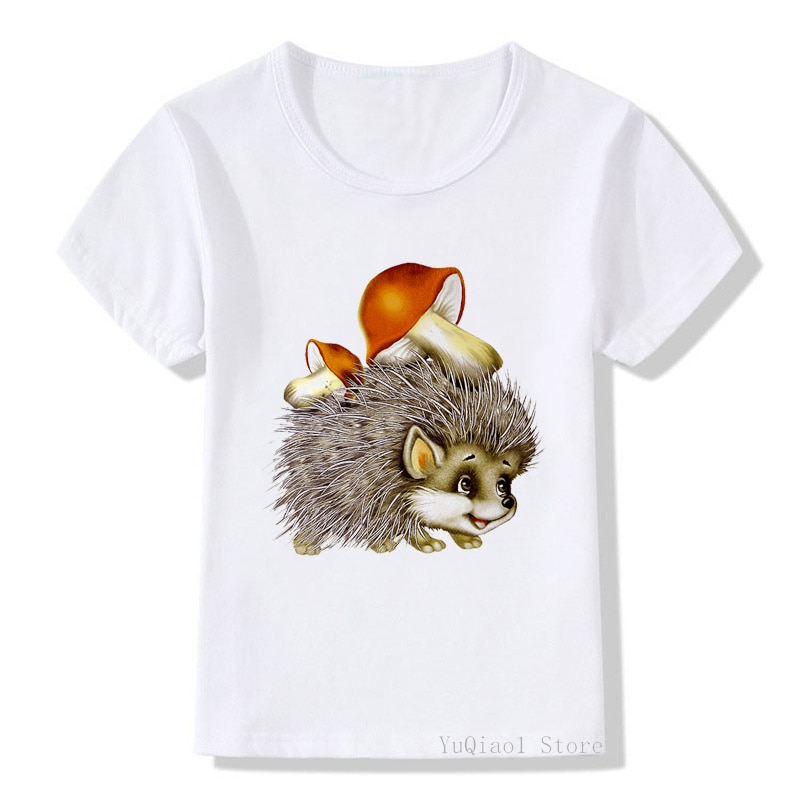 Vintage Kids T Shirt Cute Mushroom Hedgehog Tshirt Summer Boys Clothes Lovely Children's Clothing White Girl T-Shirt Camiseta