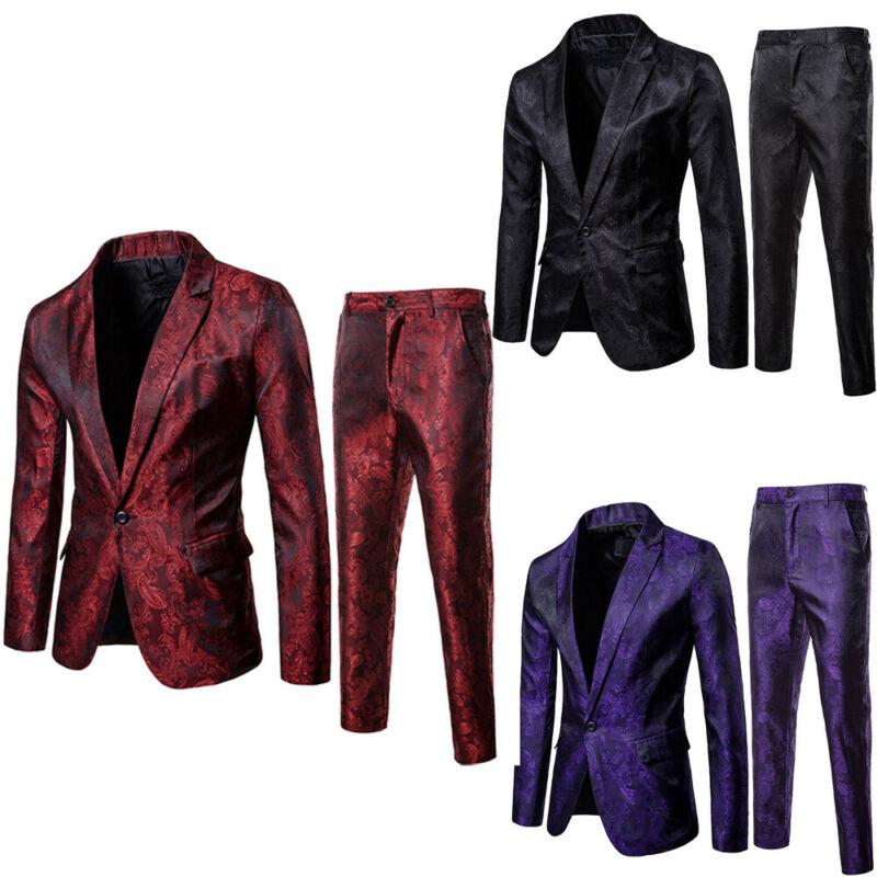 2019 New 2Pcs Men Blazer Suit Slim Fit Tuxedo Coat Pants Trousers Formal Evening Wedding Groom Costume Homme