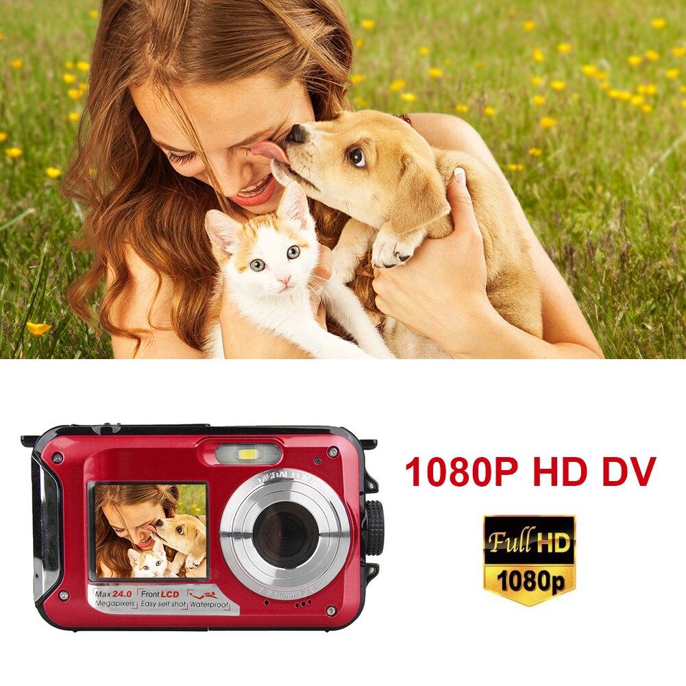 شاشة مزدوجة تحت الماء كاميرا رقمية Selfie مسجل فيديو مقاوم للماء المضادة للاهتزاز 1080P كامل HD 16X التكبير دعم 32GB TF بطاقة
