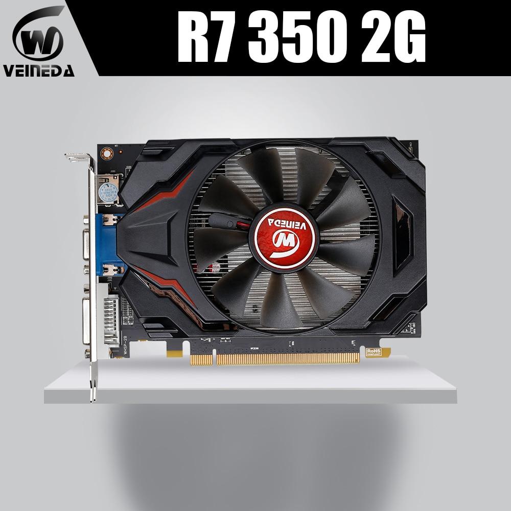 الأصلي سطح المكتب GPU الرسومات بطاقة Veineda R7 350 2GB GDDR5 128Bit مستقلة لعبة فيديو بطاقة R7-350 ل ATI راديون الألعاب