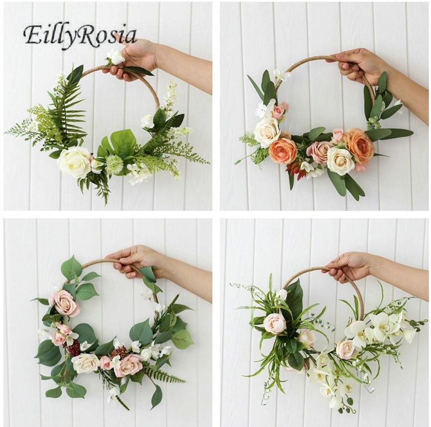سلة زهور اصطناعية لوصيفات العروس ، ديكور ريفي للزفاف ، زهور مستديرة ، أصفاد ، للعروس