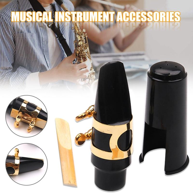 Saxofón Alto juego de boquillas con cubierta de Metal ligadura Reed Accesorios para Instrumentos Musicales HB88