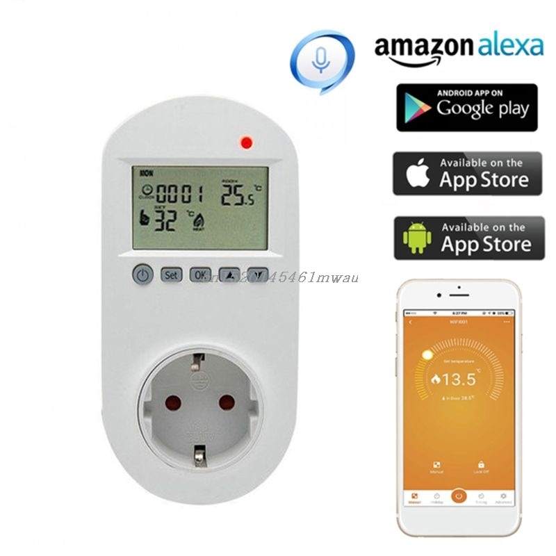 مقبس ترموستات واي فاي مع جهاز تحكم عن بعد صوتي ، وحدة تحكم في درجة حرارة الأرضية ، 16 أمبير ، 230 فولت ، قابس أوروبي
