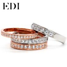 EDI Diamond Stack Ring 18K White Gold 0.16ct/0.26ct/0.36ct/0.5ct Real Natural Diamond Wedding Band For Women 18K Rose Gold