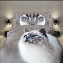 3D Dog Print Bedding Set 4 Pieces Bedclothes Pillowcases Animal Pet Full Queen Size Cat Quilt Duvet Cover bed linen flat sheet