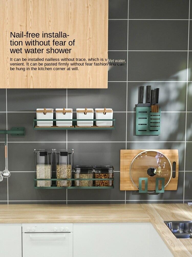 لكمة خالية الحائط تخزين الرف رف سكين المطبخ المطبخ جميع المنتجات التوابل تخزين الرف