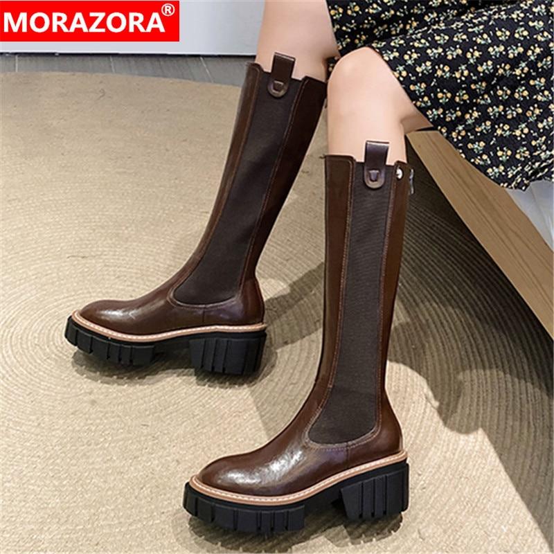 MORAZORA-أحذية من الجلد الطبيعي بكعب مربع للنساء ، أحذية نسائية ، مقدمة مستديرة ، دافئة ، بطول الركبة ، أسود ، 2020