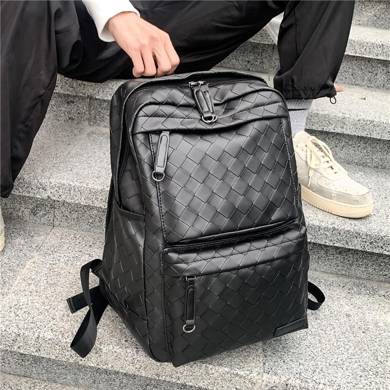 Мужские рюкзаки, сумка для ноутбука 2021, Модные Тканые рюкзаки из искусственной кожи, мужские вместительные дорожные сумки, рюкзаки, мужские ...