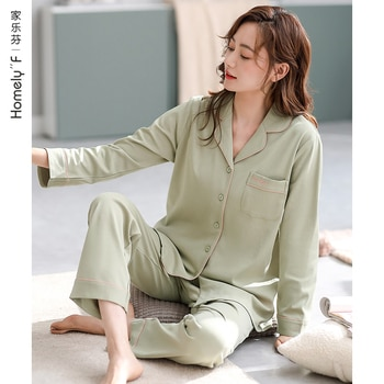 Jialefen Pajamas Women's Spring and Autumn Cotton Long-Sleeved Home Wear Cotton Autumn and Winter Set