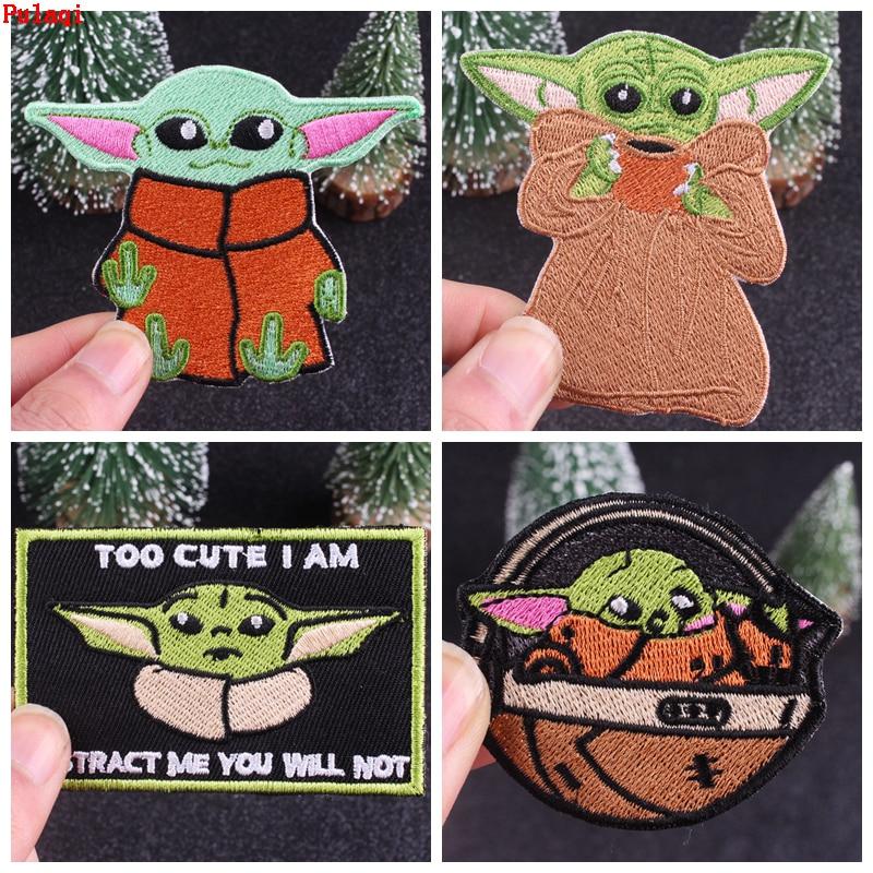 Pulaqi, parche de Yoda para bebé de Star Wars, mandalorianos parches bordados, parches de hierro para ropa, rayas, insignia para chaqueta, aplique DIY