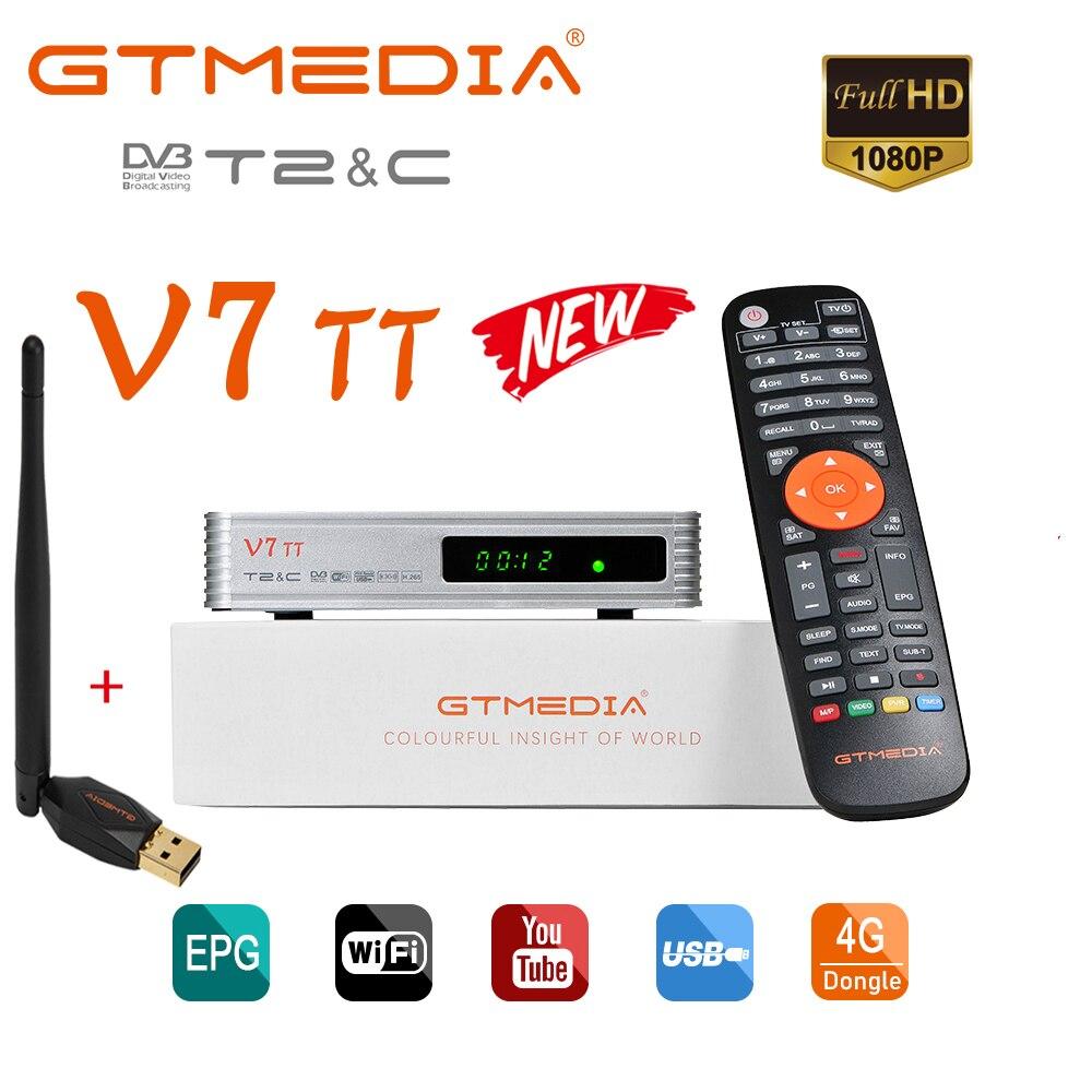 GTMEDIA V7 TT مستقبل التلفاز الأرضي DVB-T2 فك الترميز H.265 HEVC 10Bit موالف USB واي فاي TDT مجموعة صندوق علوي ، CCam فك الترميز كومبو