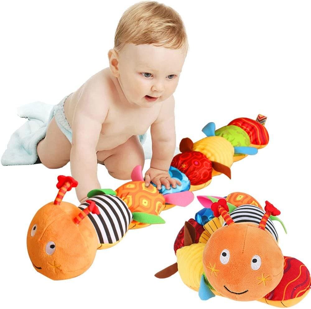 Музыкальная игрушка, Интерактивная разноцветная детская игрушка с линейкой, колокольчики и погремушки, развивающая плюшевая игрушка для м...