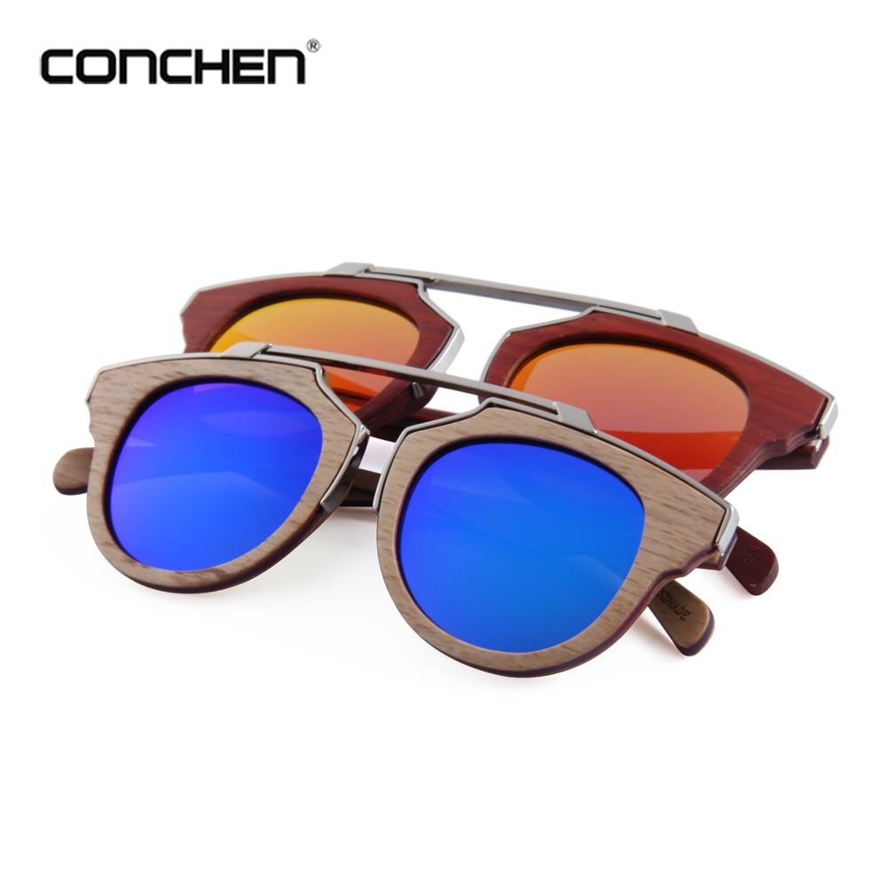 CONCHEN alta calidad Cat.3 UV400 gafas de sol espejo madera bambú UV400 polarizadas lentes de sol para hombre WB5622