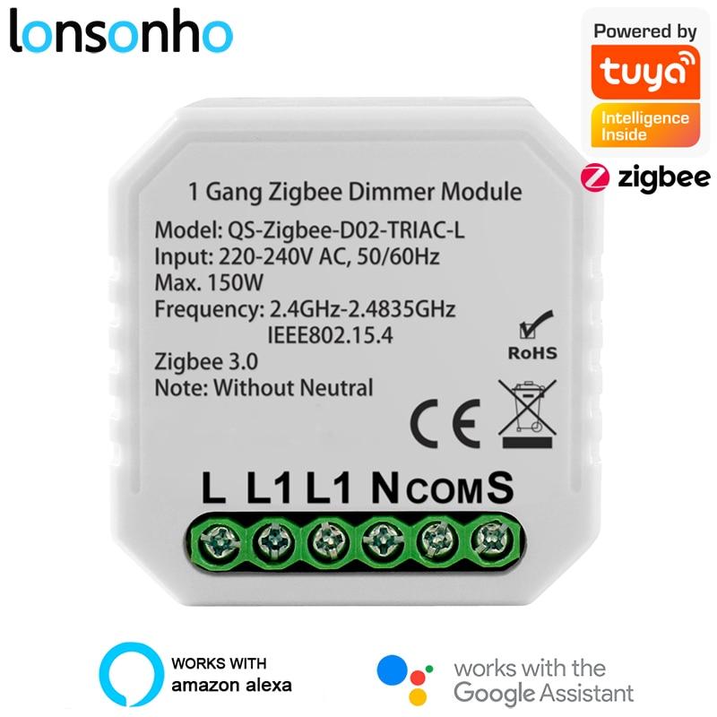 Lonsonho Zigbee Dimmer 220V No Neutral Triac Tuya Smart Led Light Dimmer Switch Module Support Zigbee2MQTT Home Assistant 2 Way