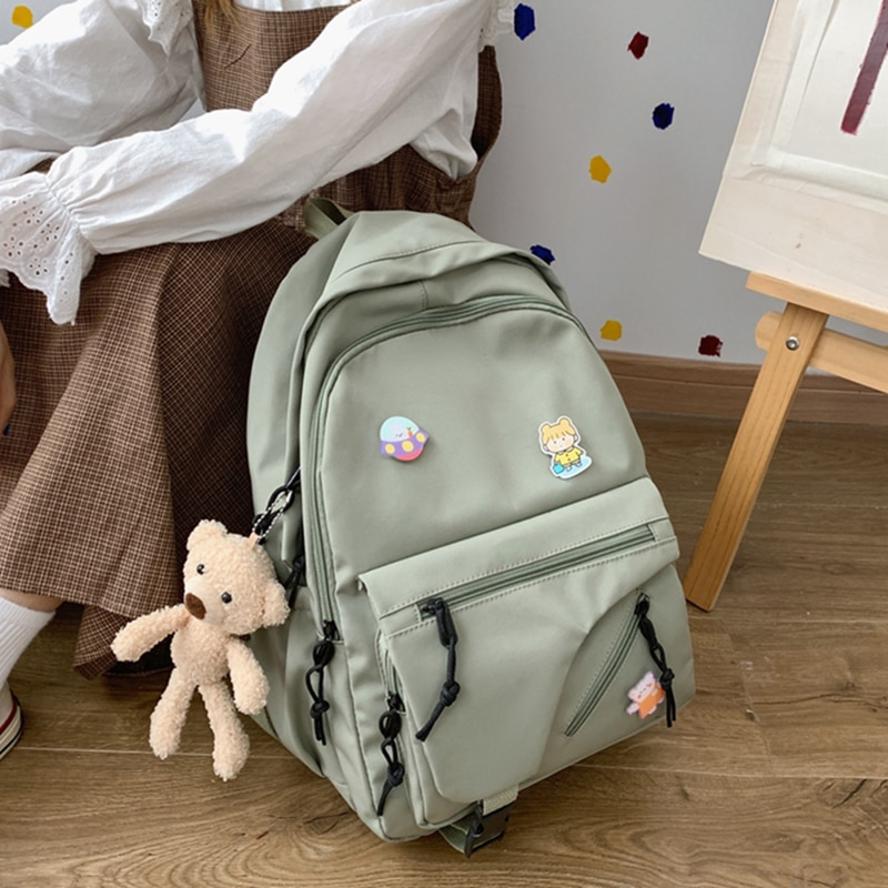 HOCODO Cute Backpack Women 2020 Fashion Backpack Female Waterproof Nylon Backpack Badge Student School Bags For Teenage Girls
