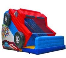 Glissière gonflable fantastique de videur de voiture de glissière sautant le château plein dentrain avec le modèle de voiture