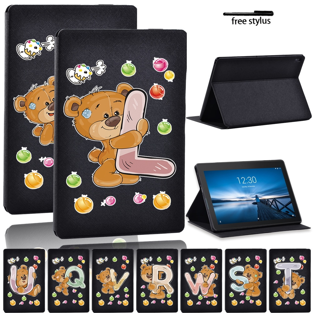 Bear Case for Lenovo Tab E10/Tab M10 Adjustable Folding Tablet Stand Anti-fall Scratch Resistant Protective Case + Stylus