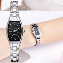 Women Bracelet Watch Rose Gold Fashion Luxury Stainless Steel Wrist Watch Rhinestone Ellipse Creativ
