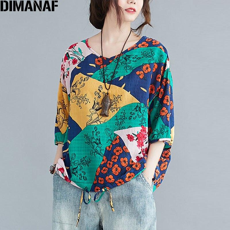 DIMANAF Summer Plus Size Linen T-Shirts Women Striped Beach Basic Lady Tunic Tops Tees Shirt Fashion Print Floral Loose tshirt