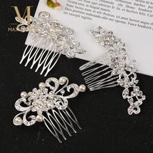 1 Pcs Chic Rhinestone Flower Leaf Bridal Hair Comb for Women Girls Crystal Hair Ornaments Jewelry Wedding Hair Accessories