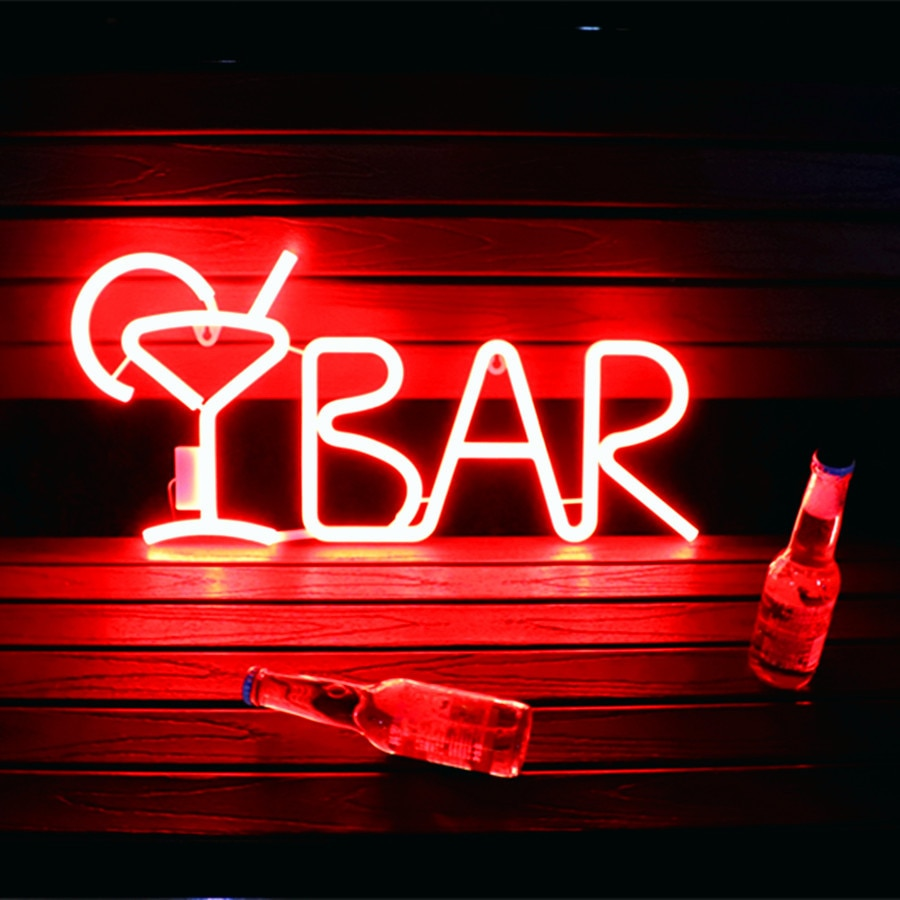 LED BAR Neon Sign Light for Bar KTV Snack Shop Decor Juice Letter Neon Lamp Tube Christmas Wall Decor with Remote Control