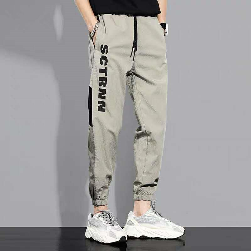 2021 Summer Harem Pants Men Loose Beam Streetwear Hip Hop Pants Thin Casual Quick Dry Overalls Black Sports Pocket Trousers Male