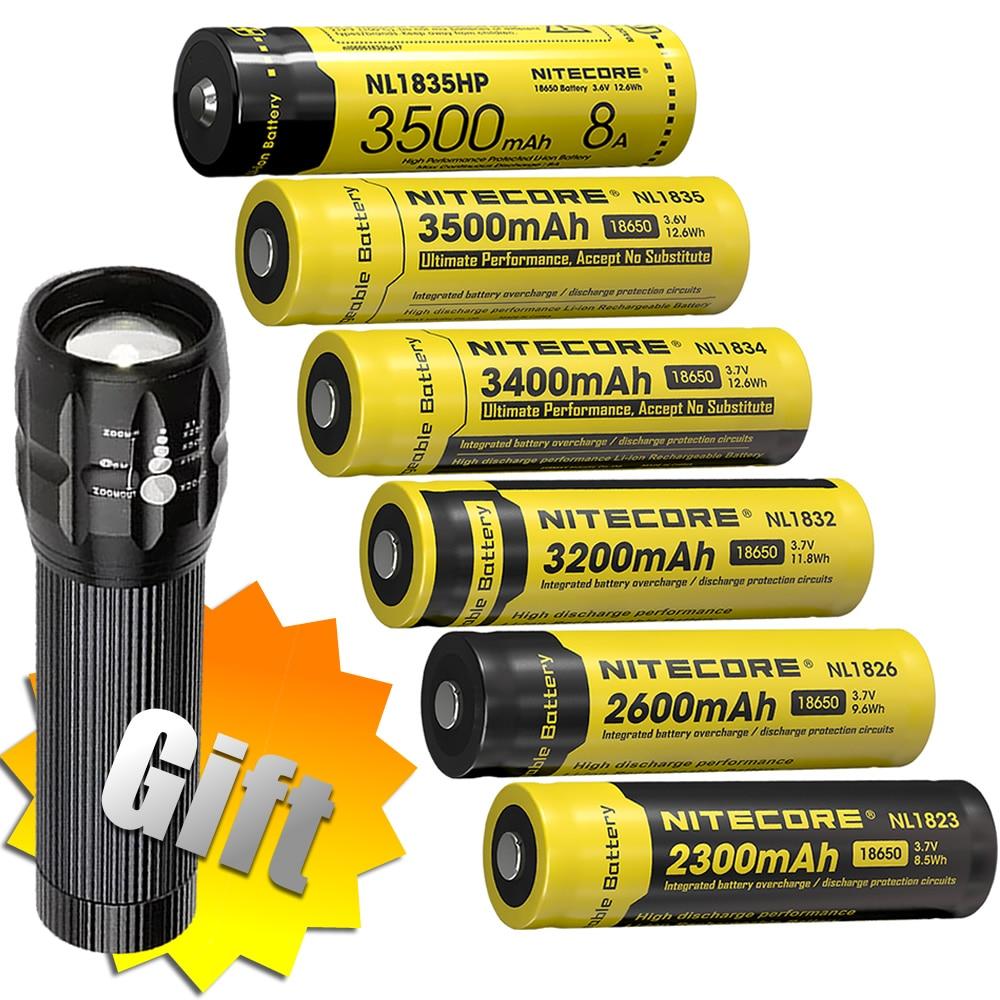 100% Original NITECORE NL1823/NL1826/NL1832/NL1834/NL1835 3.7V Li-ion Protected Battery Button Top 18650 + Flashlights FREE GIFT