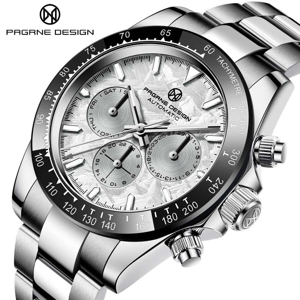 PAGRNE تصميم موضة ساعات رجالية الفولاذ المقاوم للصدأ مقاوم للماء 40 مللي متر ساعات آلية العلامة التجارية الأعلى الياقوت الزجاج ساعة أوتوماتيكية