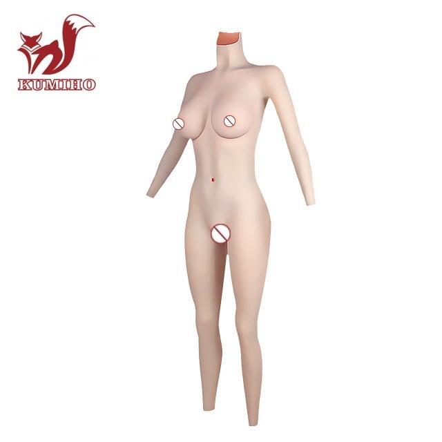 KUMIHO-بدلة للجسم من الجلد إلى الملمس ، لباس ضيق متقاطع ، كوب D ، كس صناعي ، بدلة قطة بأكمام ، أشكال ثدي للرجال ، 4G