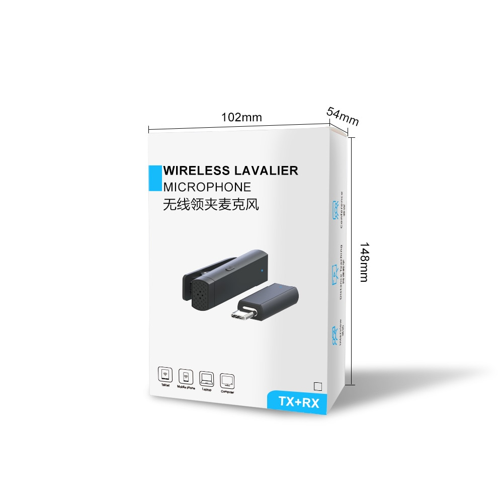 Line-clip Wireless Lavalier Microphone, Portable Mini Microphone for Audio and Video Recording for Iphone Android Phones enlarge