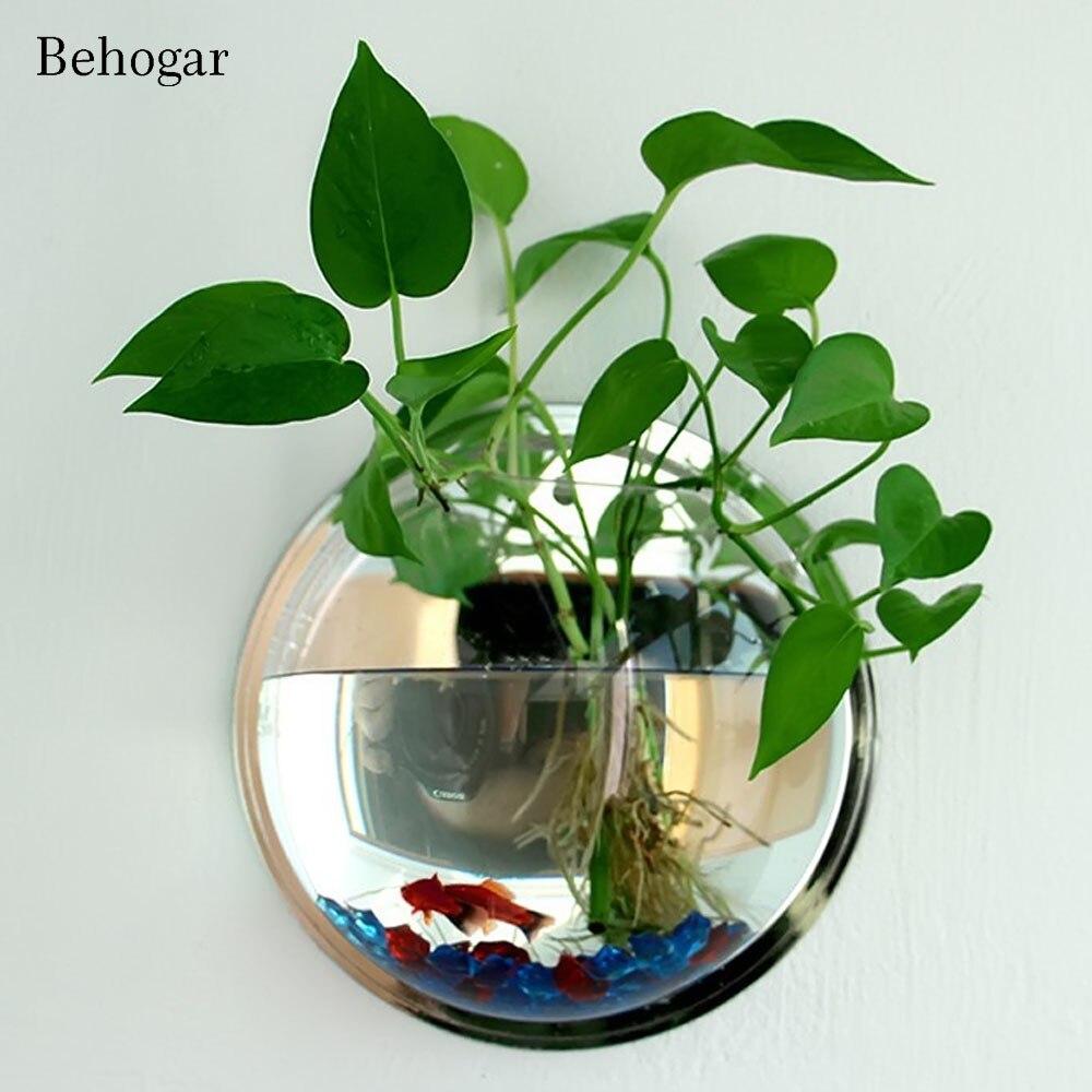 Акриловая чаша для рыбы Behogar Dia 23 см/29,5 см, настенное крепление, подвесные аквариумные продукты принадлежности для питомцев, аквариума, цветочных растений, вазы