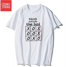 Chaîne cosmique 100% coton à manches courtes penser à lextérieur de la boîte imprimer hommes t-shirt décontracté hommes en vrac t-shirt homme t-shirt t-shirts
