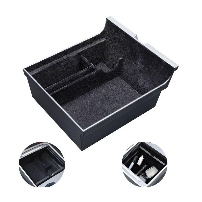 Центральный автомобильный подлокотник для хранения Коробка для Tesla модель 3 2021 аксессуары центральной консоли Флокирование Органайзер кон...