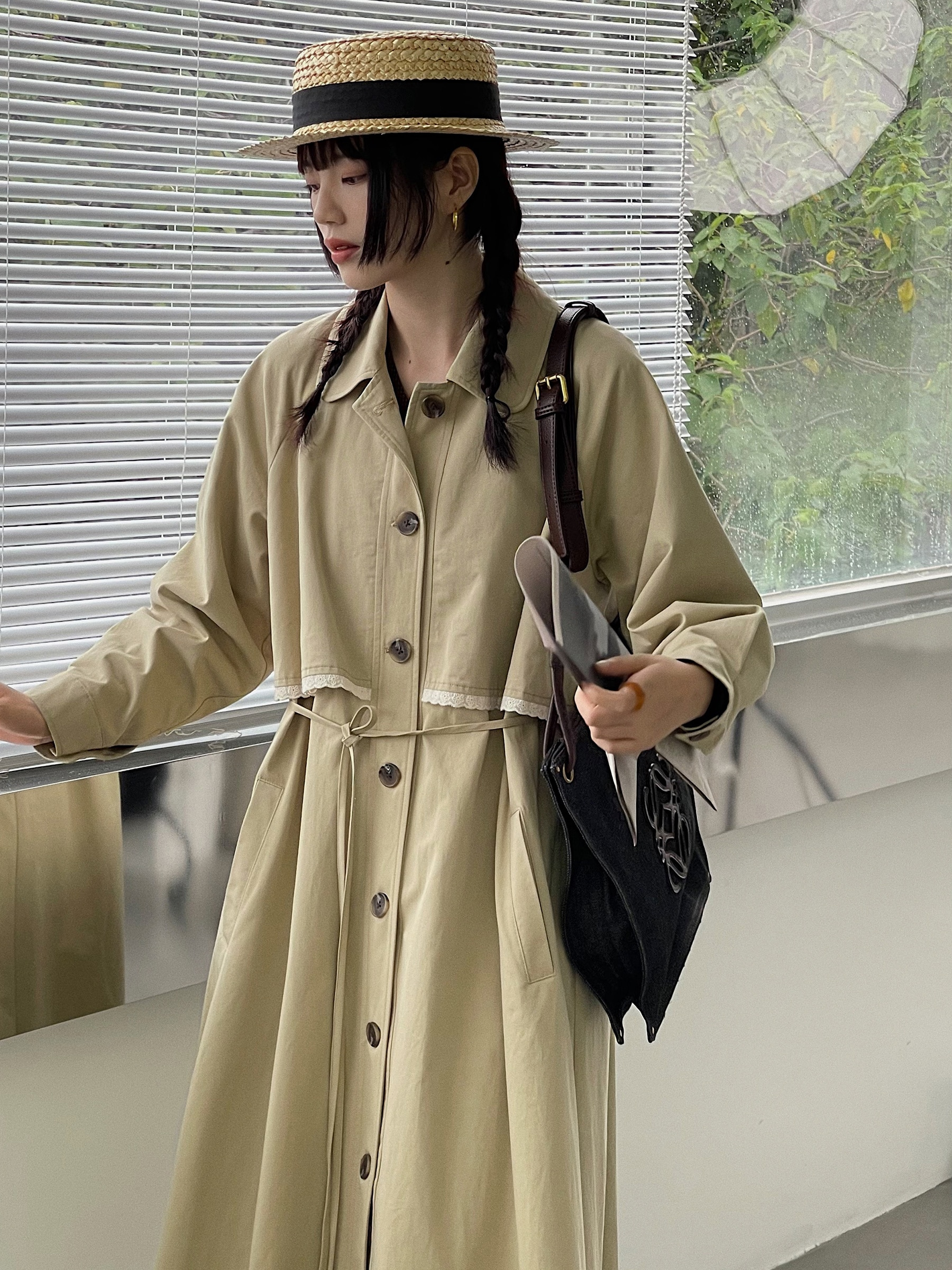 Fake Two-layer Splicing Cotton Windbreaker Coat 2021 Spring and Autumn New Fashion Long Khaki Women'