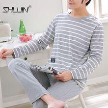 Men's Pajamas Set Autumn Spring Letter Striped Sleepwear Cartoon Pajama Sets Casual Sleep&Lounge Pyj