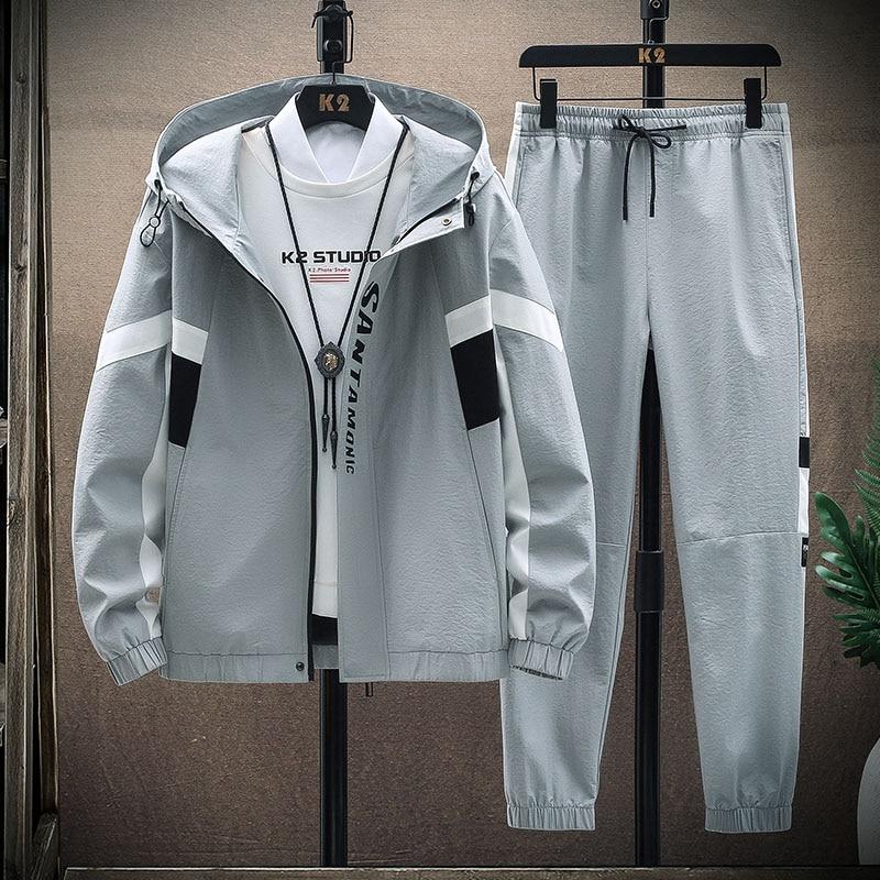 2021 الرجال موضة رياضية ربيع الخريف 2 قطعة البلوز + Sweatpants طقم رياضي الرجال جديد المرقعة سليم صالح بدل رياضية رجالي وحريمي
