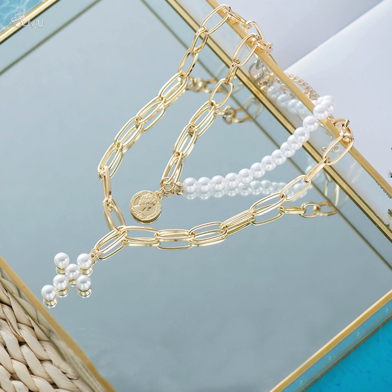 AOMU moda Multi-capa de enlace cadena corta de imitación perla Cruz collar con colgante de aleación collar de joyería de las mujeres