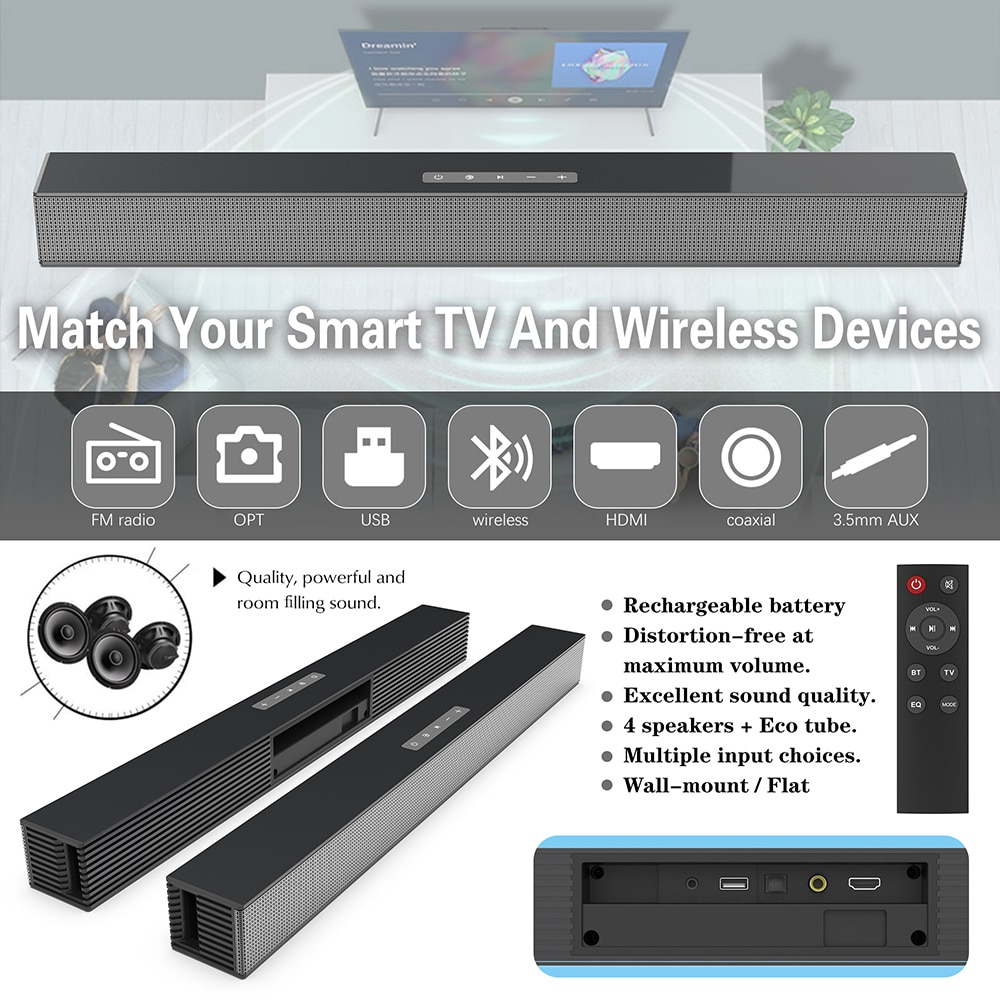 40W Home Theater Soundbar Wireless Column Bluetooth Speaker Powerful 3D Surround Music Sound bar with Aux RCA TF for TV PC BS18 enlarge