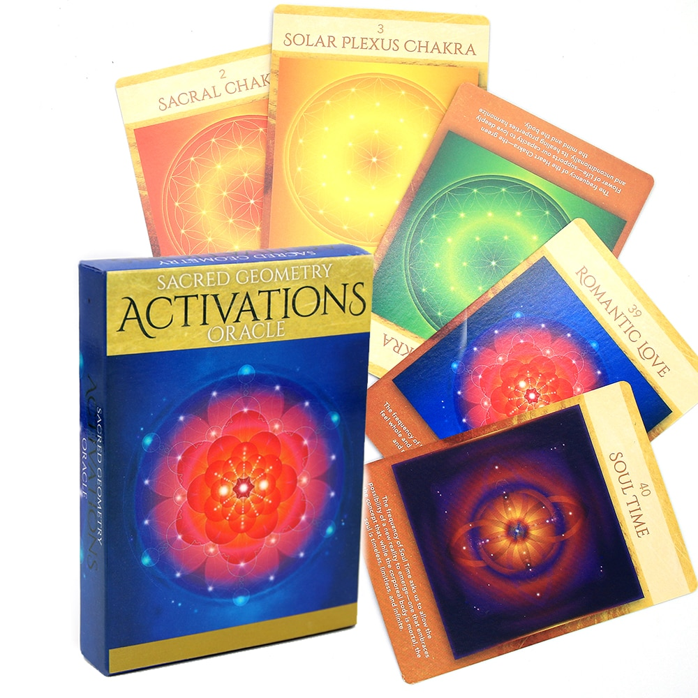 Sacred Geometry Activations Oracle Tarot Deck Divination Fate Card Table Game Board Games Gift 44pcs Tarot Cards English Version fin sieve kipper tarot cards oracle english version board games family party playing card deck table game divination fate