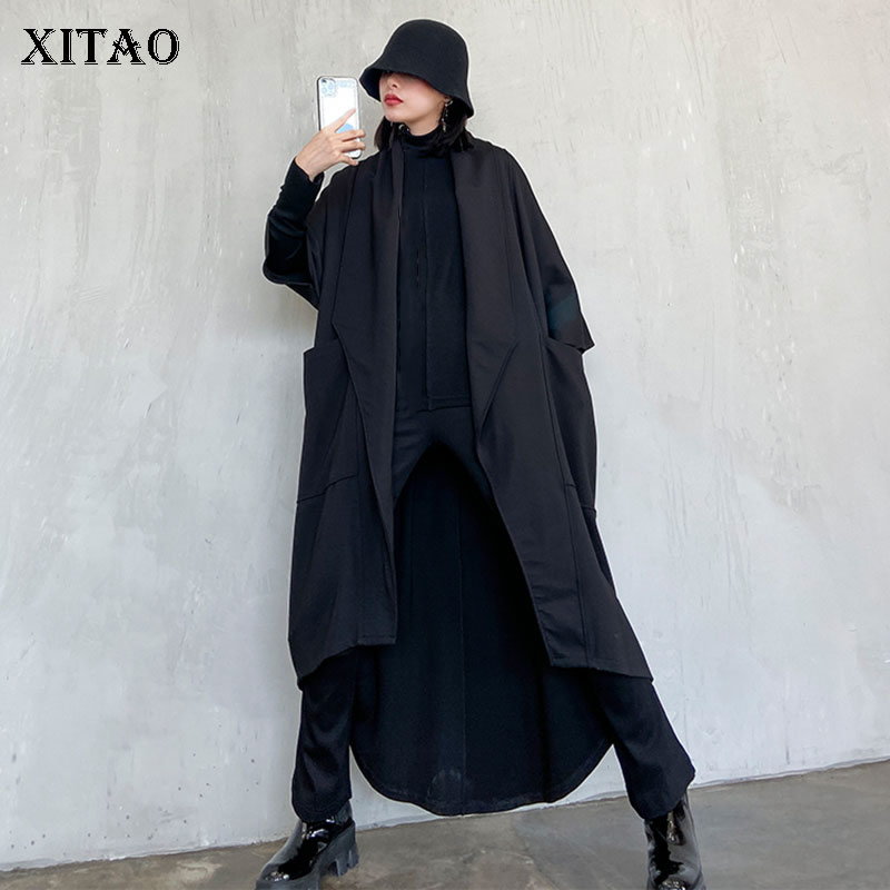 XITAO غير المتكافئة عارضة حزام خندق المرأة 2020 المد أزياء نمط جديد نصف كم Batwing بدوره أسفل طوق جيب معطف ZYQ4288