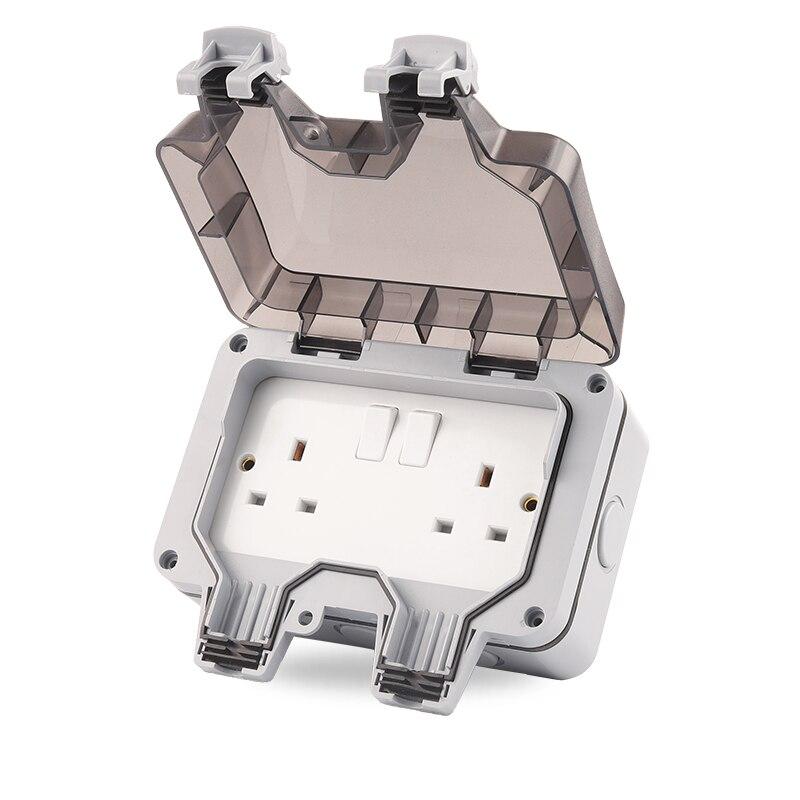 IP66 مانعة لتسرب الماء مقاوم للماء في الهواء الطلق جدار مزدوج مقبس الطاقة 13A المملكة المتحدة القياسية ترقية أكثر أمانا الكهربائية المخرج على ا...