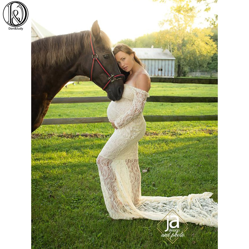 3pcs/lot Stretch Lace Maternity Dress Maxi Long Sleeves Dress Pregnant Dress Maternity Photography Accessories Baby Shower Gown enlarge